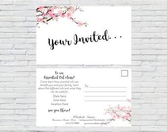Essential Oil Class Invitation, Custom, Invite, Personalized, Floral Watercolor, Oil Party Invite, Printable, Digital File, Essential Oils