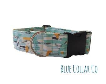 Dog Collar, Handmade Collar, Blue, Modern, Rain Dance Collar