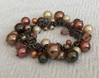 Gun Metal And Glass Pearl Bead Elasticated Bracelet