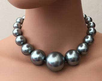 Graduated Faux Pearl Silver Grey Beaded Necklace