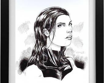 Psylocke Ink Drawing
