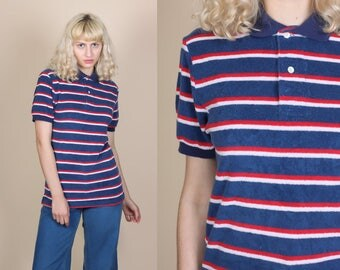 80s Striped Terrycloth Polo - Small/Medium // Vintage Red White & Blue Retro Collared Shirt
