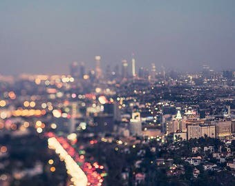 Los Angeles at night, Los Angeles photography, travel  photography, dreamy , night,bokeh, LA at night, abstract decor, mulholland drive