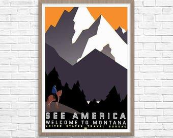Montana WPA Poster, WPA Poster, Montana Poster, Montana Art, Wpa Art, Wpa decor, Montana Print, US Travel Bureau Art, American Art