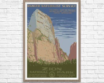 Zion National Park Poster 1938, WPA Poster, National Park Art, Great Outdoors Poster WPA National Parks Poster, WPA Poster