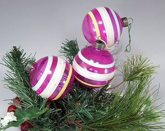 3 Unsilvered, WWII, Round, Pink, Green, Yellow, Christmas Ornament, RARE, Vintage, Glass, Christmas Decoration, Gift