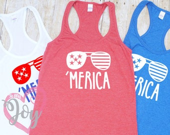"""Women's """"Merica"""" with Sunglasses Slimfit Racerback Tank Top, Fourth of July, Independence Day"""