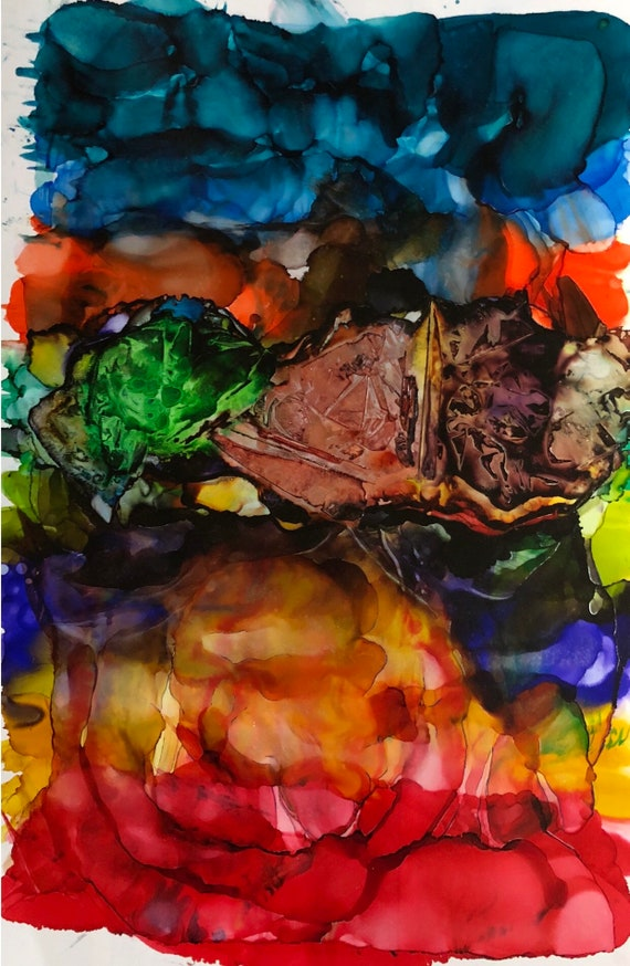 """Large Original Alcohol Ink Abstract: """"Rise"""" (23"""" x 35"""")"""