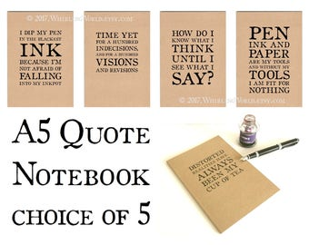 A5 Notebook for Writer, Kraft Quote Journal   Literary Gift for Literature Student, Bookish Writing Book   Ruled Recycled Kraft Eco Notebook