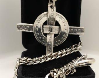 Barber Half Dollar Celtic Cross Necklace