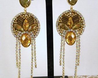 chandelier earrings, crystal rhinestone earrings, gift earrings, handmade earrings, sparkling earrings drop earrings, drop earrings