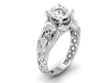 Skull wedding ring Etsy
