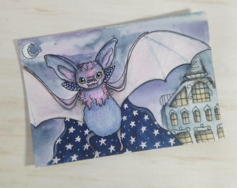 Vampire Bat Artist Trading Card Print