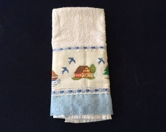 Hand Towel with House, Sailboat & Lighthouse Design