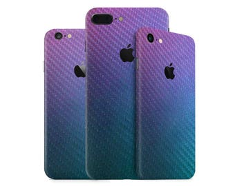 Color Changing Chameleon Carbon Fiber iPhone Skin Wrap Decal for the iPhone 7, 7 Plus, 6, 6s Plus, SE, 5/5s/5c/SE & 4