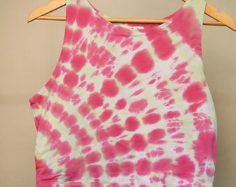 Ladies Size Xl/16 Crop Top - Beach - Festival - Ready To Ship - Ice Tie Dyed - 100% Cotton - FREE SHIPPING within AUS