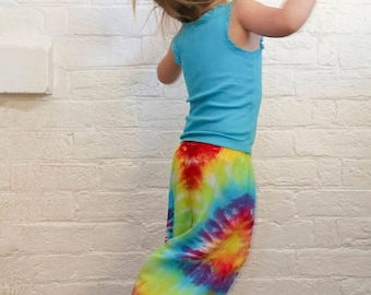 25% OFF ENTIRE SHOP Kids Size 4 Harem Pants - Boho - Hippie - Gypsy - Pants - Ready To Ship - Unisex - Tie Dyed - 100 Percent Rayon - Free S
