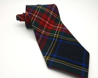 "Vintage 90s Necktie Unisex Short Women's Tie 3.75"" Flannel Plaid Checks Diagonal Pattern Le Chateau Hipster Lumberjack Grunge Punk"