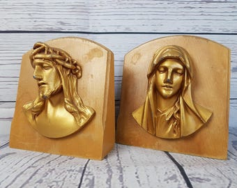 Vintage Virgin Mary and Jesus Bookends Heavyweight Paper Weight Book End Wood and Metal Religious Gift Catholic Shower Gift Christ Christian