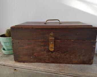 Vintage Big Wood Treasure Chest / Rustic Retro Man Cave / Industrial Steampunk Box / Antique Garage Decor Farmhouse