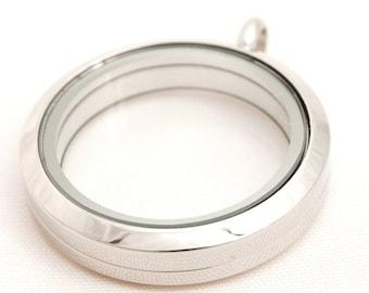 Large Plain Silver locket, Floating locket, Memory locket with optional chain