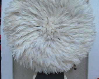 "Authenic 30"" / White / Bamileke / African Feather Headress / Juju Hat / ""fresh Shipment"""