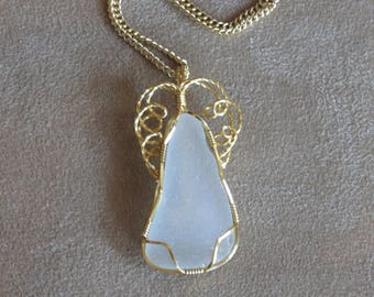 322 Three wire gold white triangular sea glass with gold swirls