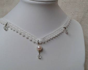 """Ecru lace Ribbon and Pearl"" Choker necklace"