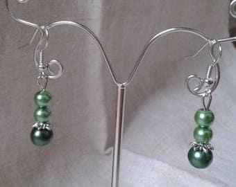 """three Green Pearl"" earrings"