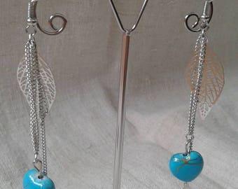 leaves and blue heart earrings