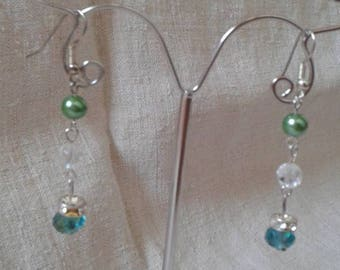 Earrings green and transparent