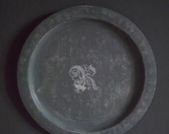 Gustavian grey weathered Monogram tray