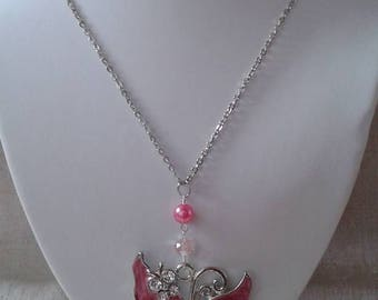"""big Butterfly pink and pearls"" necklace"