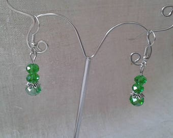 """Earrings """"three green faceted beads"""""""