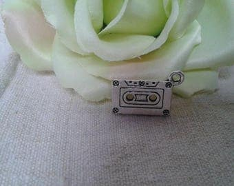 """set of 5 """"tapes"""" silver metal charms"""