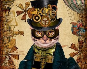 Steampunk Cat A4 Giclee Art Print Wall Art Poster