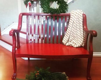 Upcycled Antique Bench Colonial Red