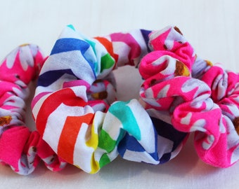 Rainbow Fusion Floral Hair Scrunchies, Hair Ties, Gentle Hair Elastic, Hair Accessories and Handmade Favors or Gifts
