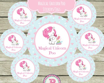 Unicorn Party Pooper Circle Favor Tags Printable 2.5 inch Stickers Magical Unicorn Poo Party Tags So Stinkin Fun Pastel Unicorn Poop