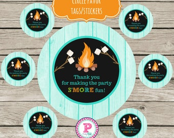 INSTANT S'more Fun Bonfire Circle Stickers Party Labels Favor Tags Treat Bag Birthday It's Fall Y'all Fall Fun Camping Thank You Glam Camp