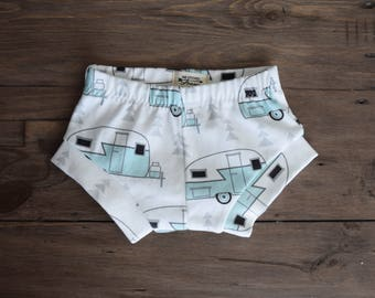 100% Organic Cotton Baby/Tot Shorties, Vintage Camper