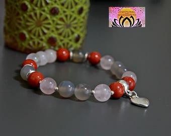 Red Jasper Rose Quartz Smoky Quartz Silver Charm Bracelet-Beaded Stretchy-Wrist Mala-Yoga Bracelet-Boho Elegant Jewellery-Stacking Layering