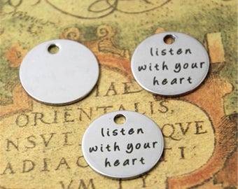 10pcs listen with your heart charm silver tone message charm pendant 20mm ASD2049