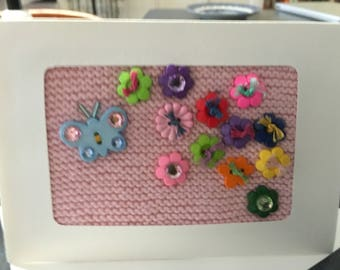 Button Flowers and Butterfly - Knitted Greeting Card