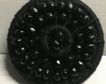 Dorset Button Brooch - Black and Beaded.