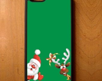 Christmas Santa Rudolph Red Nose Reindeer Phone Case Samsung Galaxy S6 S7 S8 Note Edge Apple iPhone 4 5 5S 5C 6 6S 7 SE Plus + LG G3 skin