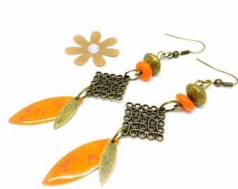 """Orange/bronze"" trendy""pattern sequin earrings"