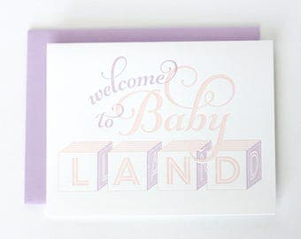 Welcome to baby land GIRL / Letterpress baby greeting card