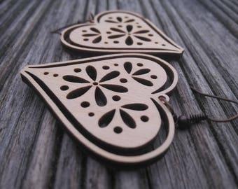 Wooden heart earrings, 40×42 mm