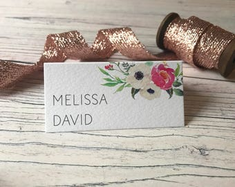 Pink Floral Place Cards - Wedding Name Cards  - Reception Table Decor